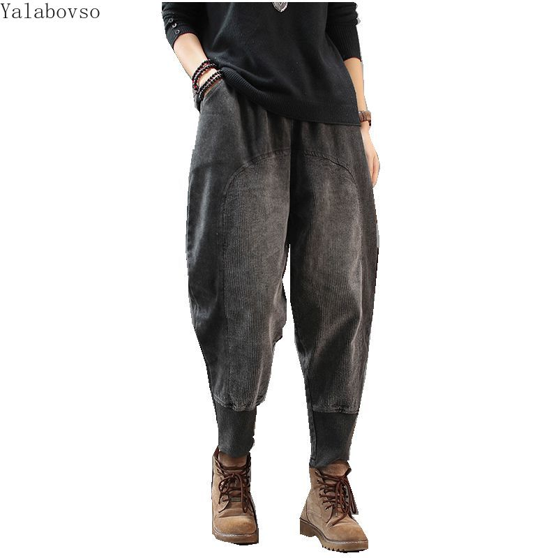 2019 automne et hiver nouveau café foncé couleur jean femmes rétro art velours côtelé patchwork pantalons décontractés pour les femmes Z3