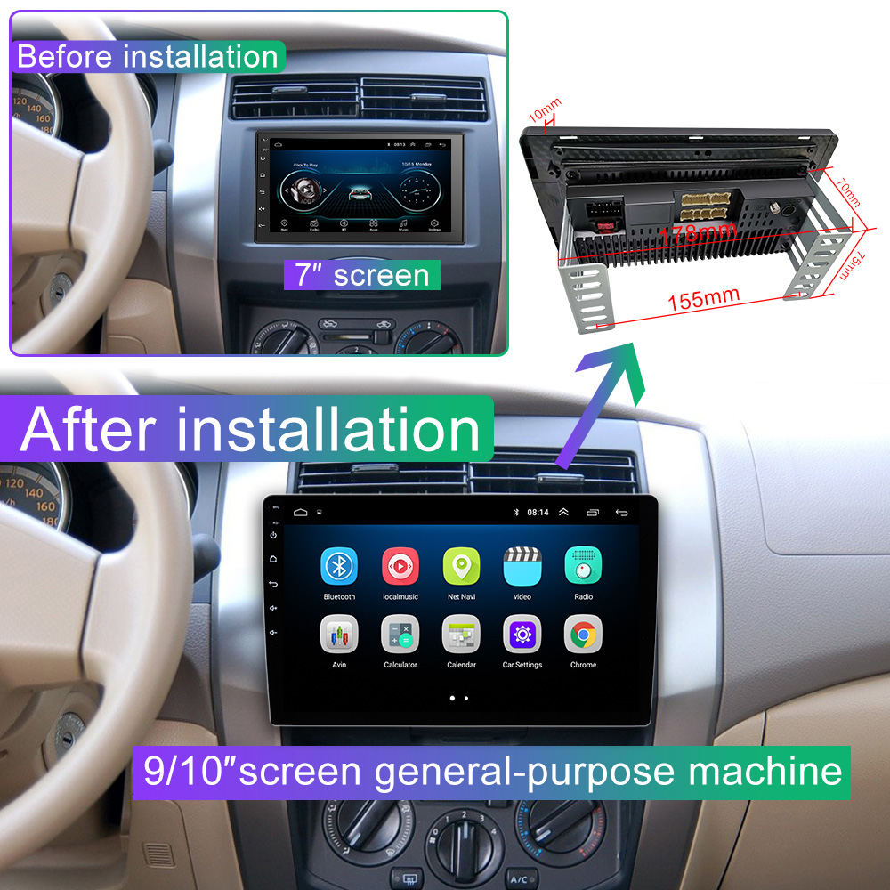Image 5 - 9/10 inch Android 8.1 2 Din Car radio Multimedia Playe Universal auto Stereo  Gps Navigation   Bluetooth Video  Player Rear Cam-in Car Multimedia Player from Automobiles & Motorcycles