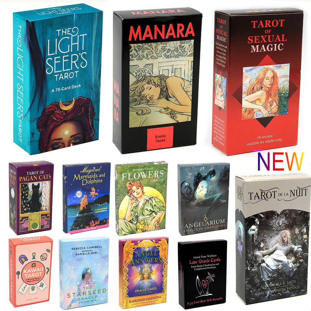 Tarot de voyant lumineux 78 carte Deck carte planche Divination lecture amour lune près des débutants Tarot érotique de Manara chats païens Oracle
