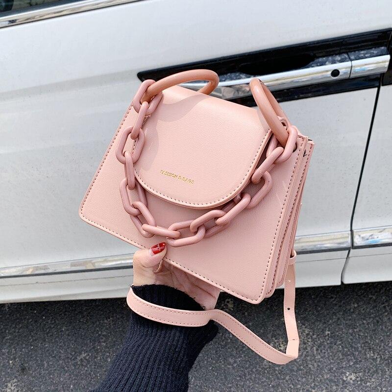 Elegant Female Chain Tote Bag 2020 Fashion New High Quality Leather Women's Designer Handbag Solid Color Shoulder Messenger Bag