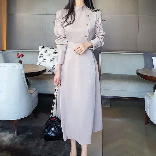 Women Autumn Spring Fashion Stand Collar Button Vintage Dress Elegant Korean Style Long Sleeve A-line Office Lady Dress