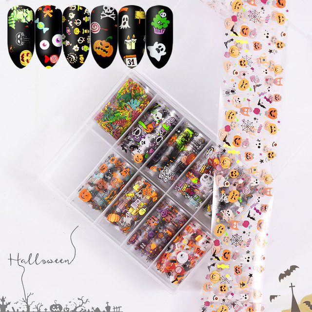 Autocollants 3D pour manucure, décalcomanies holographiques pour ongles, décoration pour manucure, 10 pièces, décalcomanies de noël Halloween ciel étoilé, Nail Art