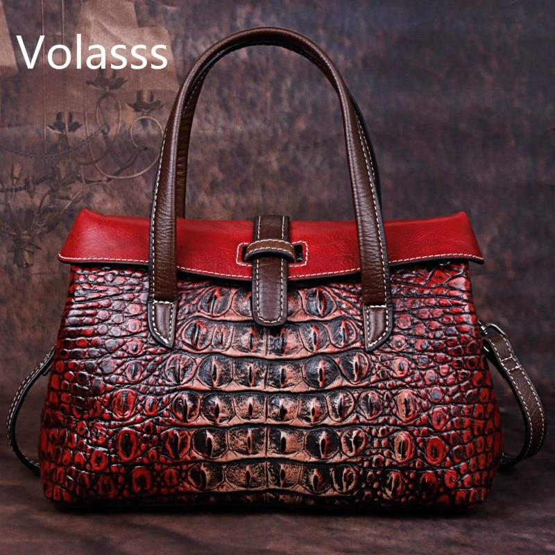 Handbag 2019 Genuine Leather Single Shoulder Ladies Hand Bags Woman Luxury Handbags Women Bags Designer Alligator Bolsos Mujer
