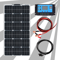 White Flexible Kit Solar System for Home 12v 24v 100w Solar Panels Systems for Camping Car Solar Systems Solar Charger Kit