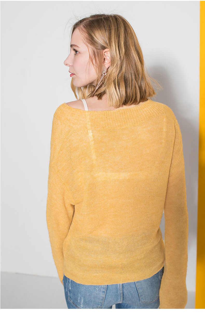 Camisola topos feminino novo outono casual manga comprida pullovers camisola de malha feminina com decote em v mohair suéteres mujer quente lx159