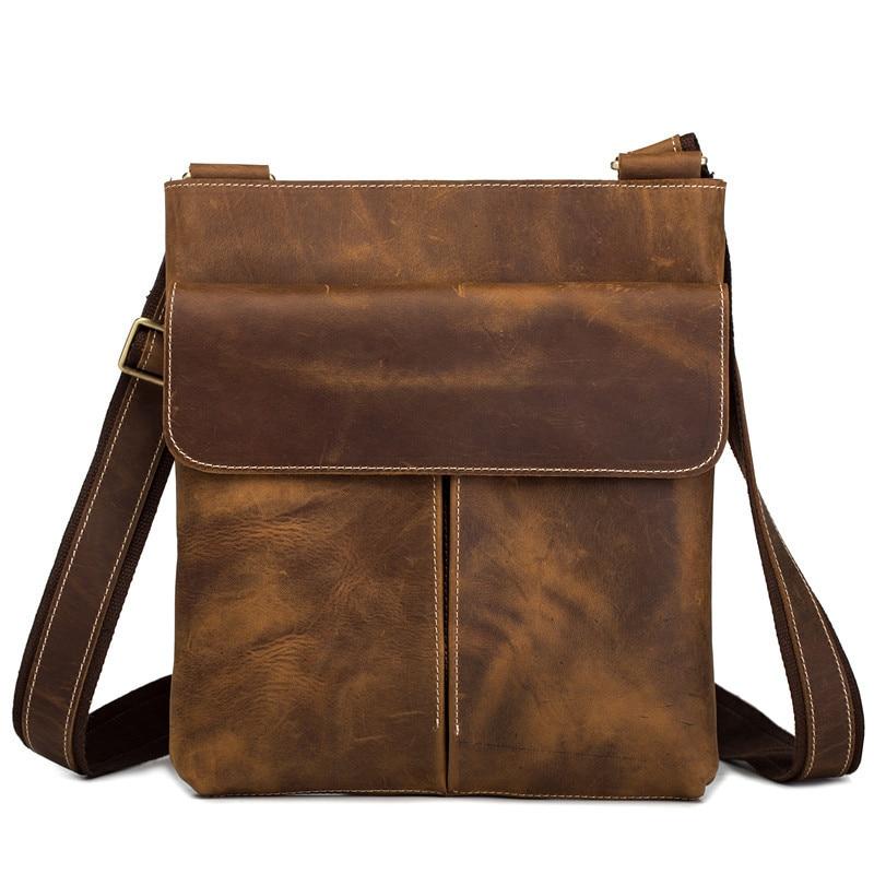 Leder herren Messenger Bag Echtes Leder Handtaschen Männlichen Schulter Tasche Casual Mini Aktentasche für Business Travel Kreuz körper Fall