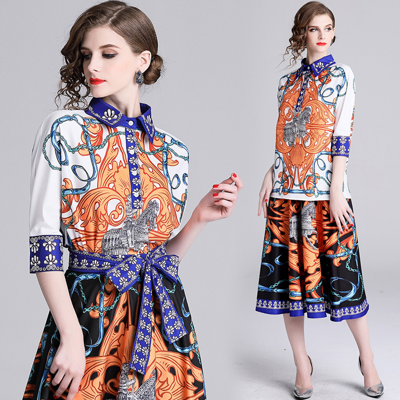 6155-2019 Spring New Style Europe And America Lapel Shirt + Medium-length Skirt Printed Set [Photo Shoot]