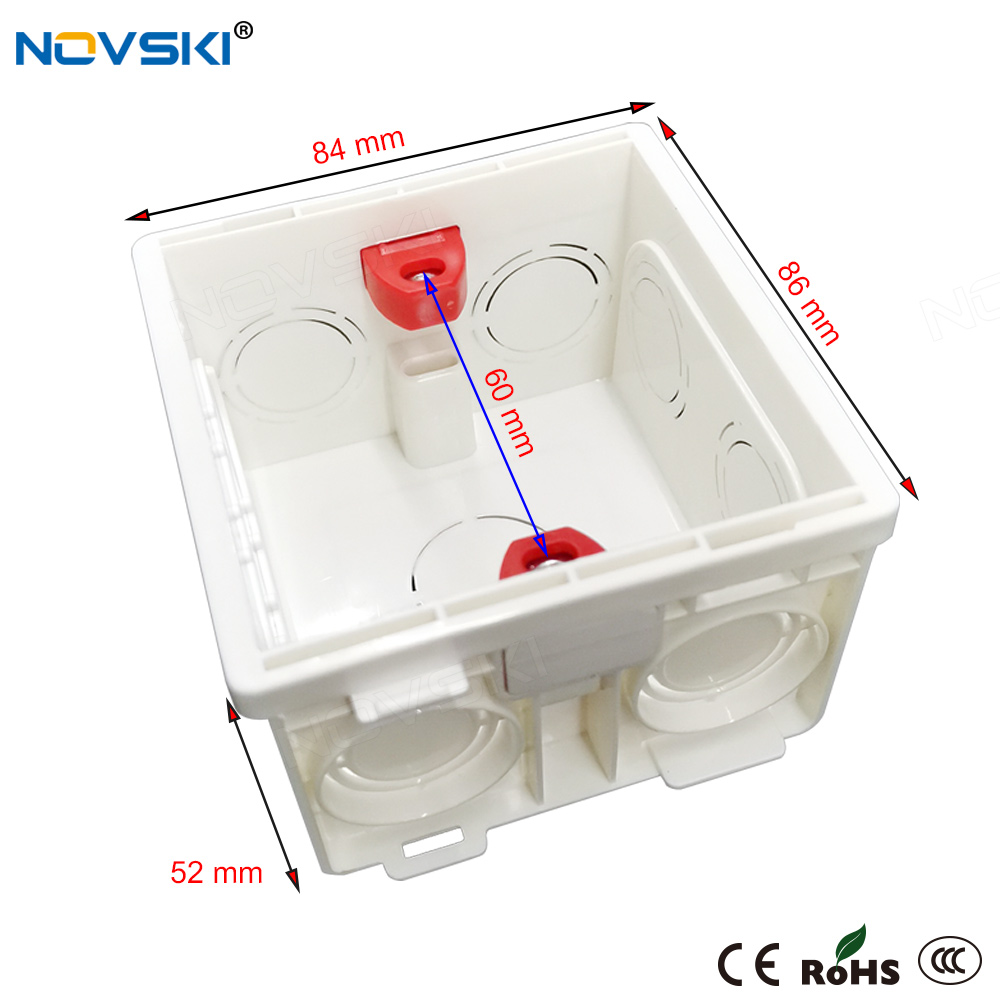 Used for wall switch and socket, white, Black,type 86, install the bottom cover to adjust the internal box type junction box
