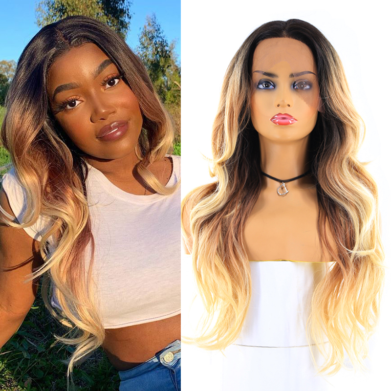 613 Blonde Ombre Color Lace Front Synthetic Hair Wigs For Black Women X-TRESS 24inch Long Wavy 13X4 Lace Wig Free Middle Part