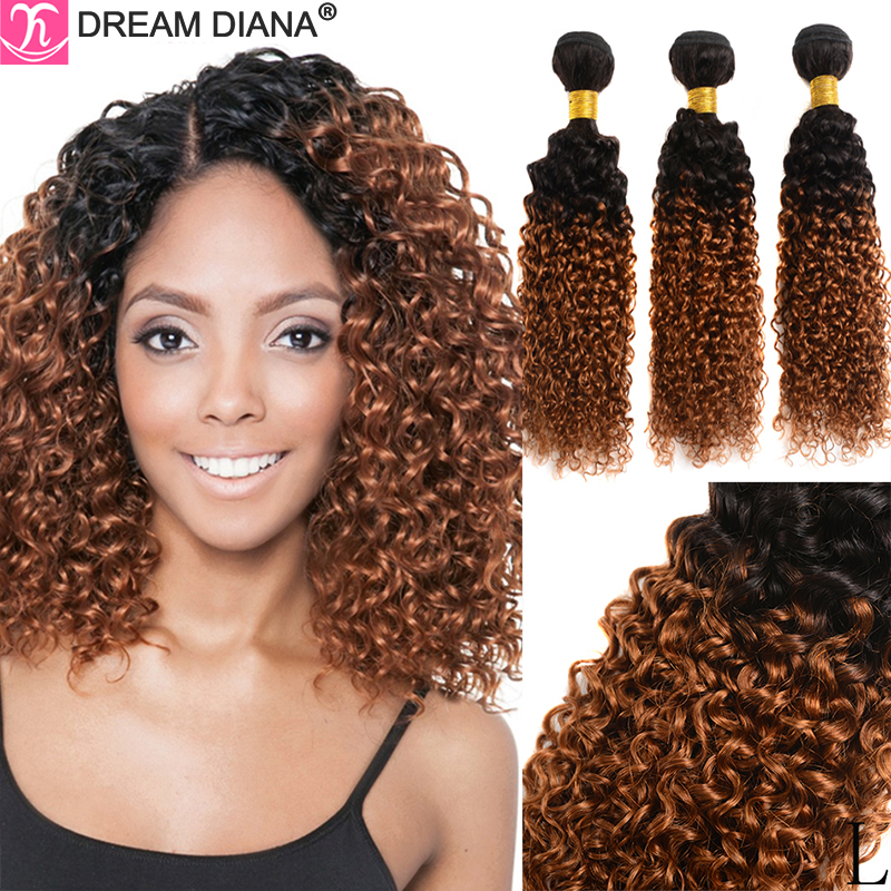 DreamDiana Ombre Curly Hair 3 Bundles Two Tones 10-26 Remy Ombre Brazilian Hair 1/3/4 Bundles 100% Ombre Human Hair Low Ratio