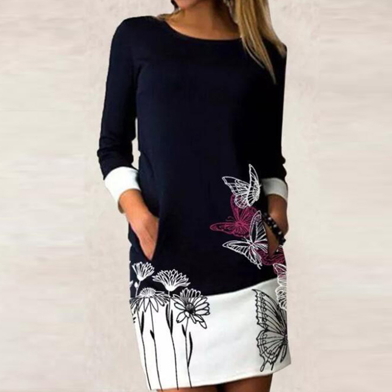 Ropa con estampado Floral para mujer, vestido de retales informal, camisas de manga larga, Vestidos rectos para mujer, Tops Vintage ajustados para primavera