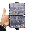 160 pçs/caixa kit de pesca gabarito ganchos pescaria peso chumbos de pesca snaps conjunto com caixa de equipamento de pesca