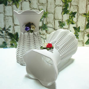 Container Basket Vase-Use Garden-Decoration Artificial-Flower Plastic White Home Wedding