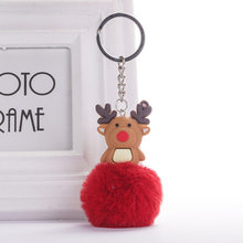 Christmas Gifts Elk Keychain Fake Fur Ball Pompom Key Rings Xmas Decorative Bag Pendant Women Men DIY Car Key Holders(China)