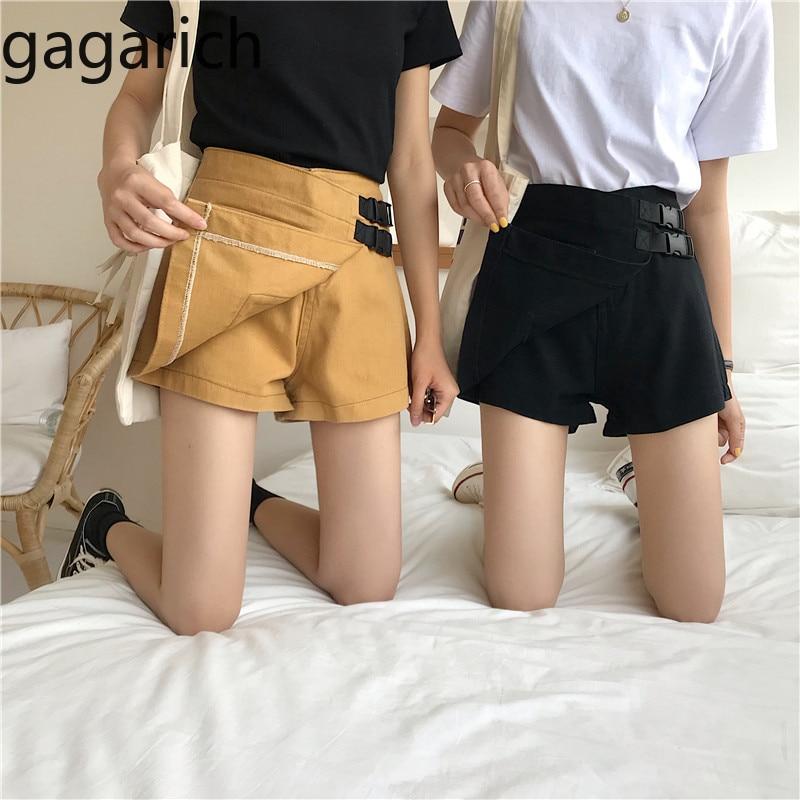 Gagaricn Summer Korean Denim A Line Shorts Femme High Waist Slim Lace Up Pockets Solid Safari Style Casual Students Shorts Chic