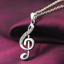 1PC Fashion Musical Note Necklaces Pendant Silver Chain Chokers Women Inlaid Zircon Wedding Crystals Jewelry Bijoux Gift Kolye(China)