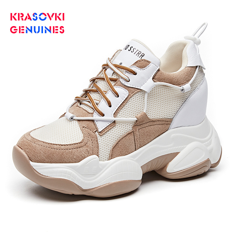 Krasovki Genuines Sneakers Women Muffin Bottom Dropshipping Fashion Mesh Solid Thick Bottom Breathable Leisure Lace Women Shoes