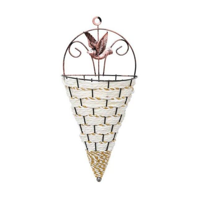 Natural Wicker Flower Basket Wall Hanging Pot Planter Rattan Vase Basket Decor