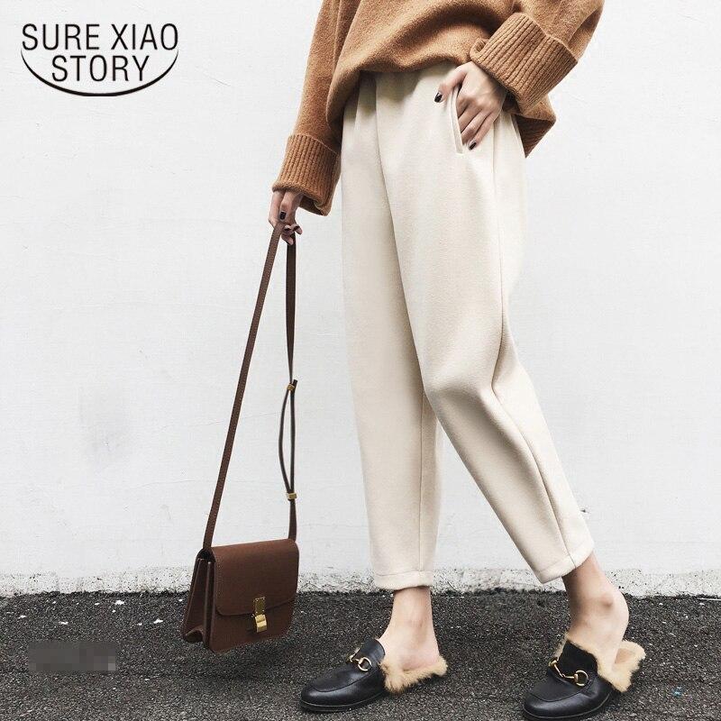 Loose Thick Warm Fashion Pleated   Pants   Woolen Harem   Pants   Autumn Winter Plus Size Ankle-length   Pants   Trousers   Capris   7421 50