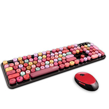 Wireless keyboard and mouse set 2020 new color lipstick girl hot selling keyboard and mouse set 3C024