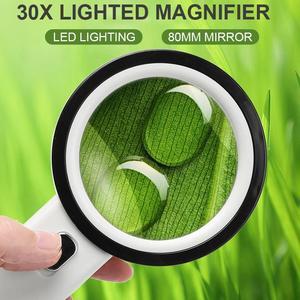 Увеличительное стекло Практичный Прочный 12 Светодиодный светильник 30X ювелирное Ювелирное стекло объектив биологическое чтение ручная Лу...