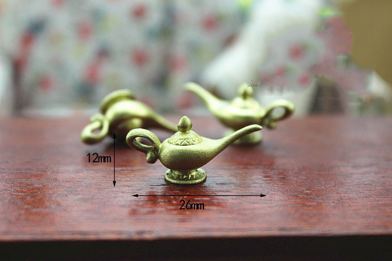 Wholesale 1:12 Dollhouse Miniature Mini Golden Aladin Teapot Doll Accessories Toy Match For Forest Animal  Collectible Gift