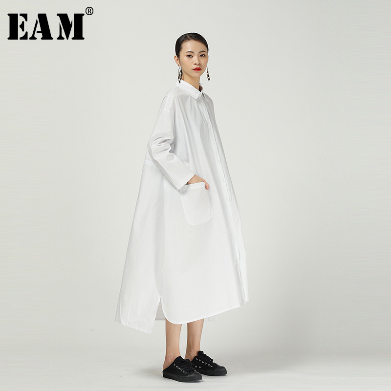[EAM] Women Back Long Brief Temperament Big Size Shirt Dress New Lapel Long Sleeve Loose Fit Fashion Spring Autumn 2020 1R289