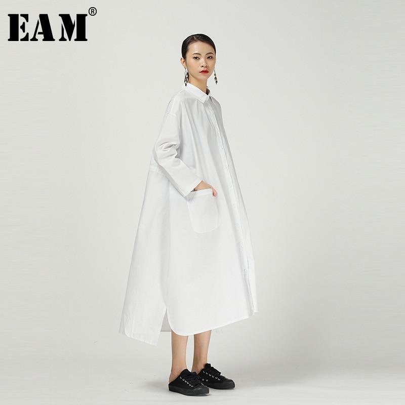 [EAM] Women Back Long Brief Temperament Big Size Shirt Dress New Lapel Long Sleeve Loose Fit Fashion Spring Autumn 2020 1R289