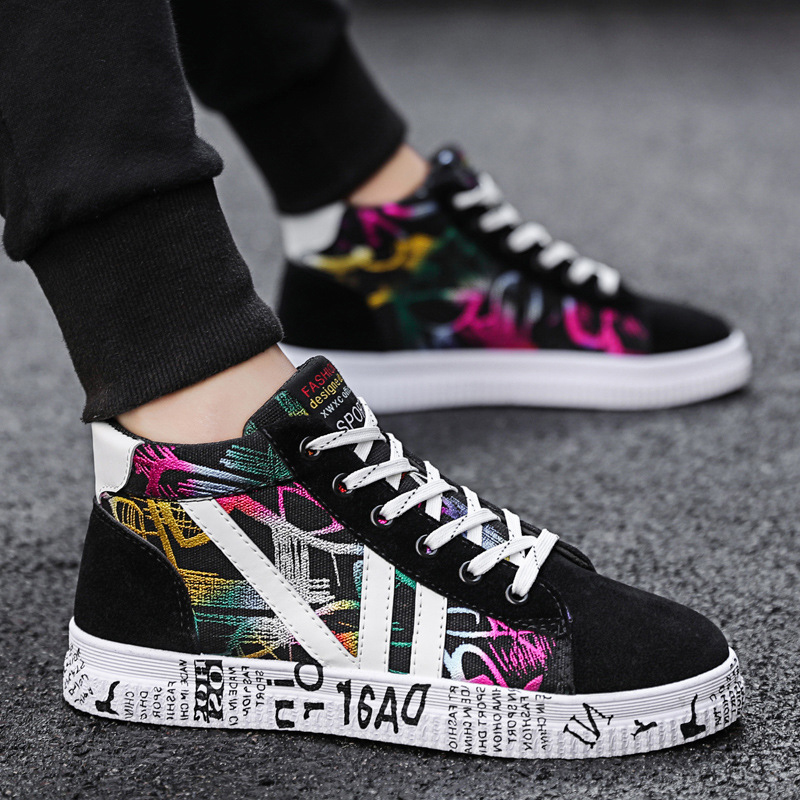 Male Shoes New High-Help Spring Tide Canvas Korean-Edition Men's