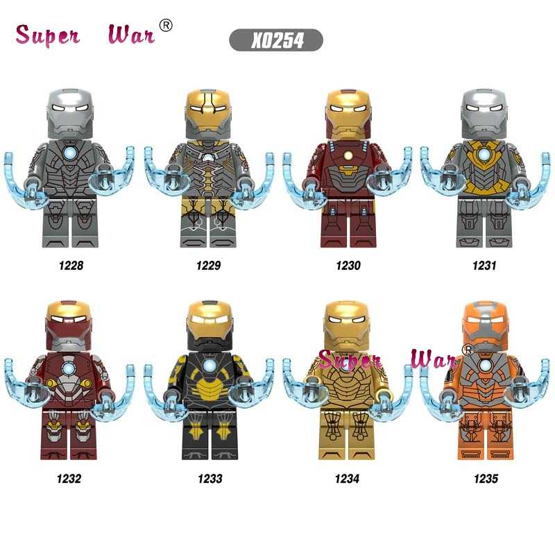 Los Vengadores únicos Endgame Iron Man IronMan MK85 MK50 MK30 Mk 16 Mk 18 Mark 21 Mark 28 máquina de guerra pimienta bloques de construcción juguetes para niños