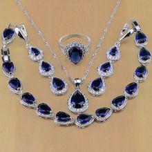 925 Gioielli in Argento Sterling CZ Bianco Blu Zircone Set di Gioielli Per Le Donne Orecchini/Pendente/Collana/Anelli/braccialetto