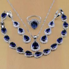 925 Sterling Silver Jewelry White CZ Blue Zircon Jewelry Sets For Women Earrings/Pendant/Necklace/Rings/Bracelet