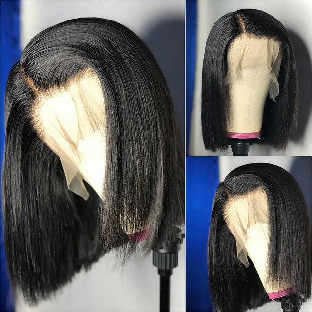 Perucas de bob curto em linha reta frente do laço perucas de cabelo humano para as mulheres pré arrancar com o cabelo do bebê 13x4 peruca dianteira do laço glueless peruca do laço remy 5