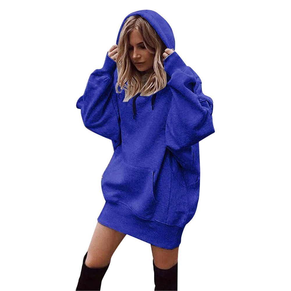 Sweatshirt Women Long Hoodie Fashion Solid Color Clothes Hoodies Pullover Coat Hoody Sweatshirt moleton feminino Tracksuit Women