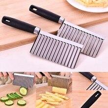 Нож для картофеля, резки цветов, кухонный нож для картофеля фри инструмент, Картофельная волнистая форма, горячая Распродажа, кухонный гаджет из нержавеющей стали, овощерезка, фрукты T3
