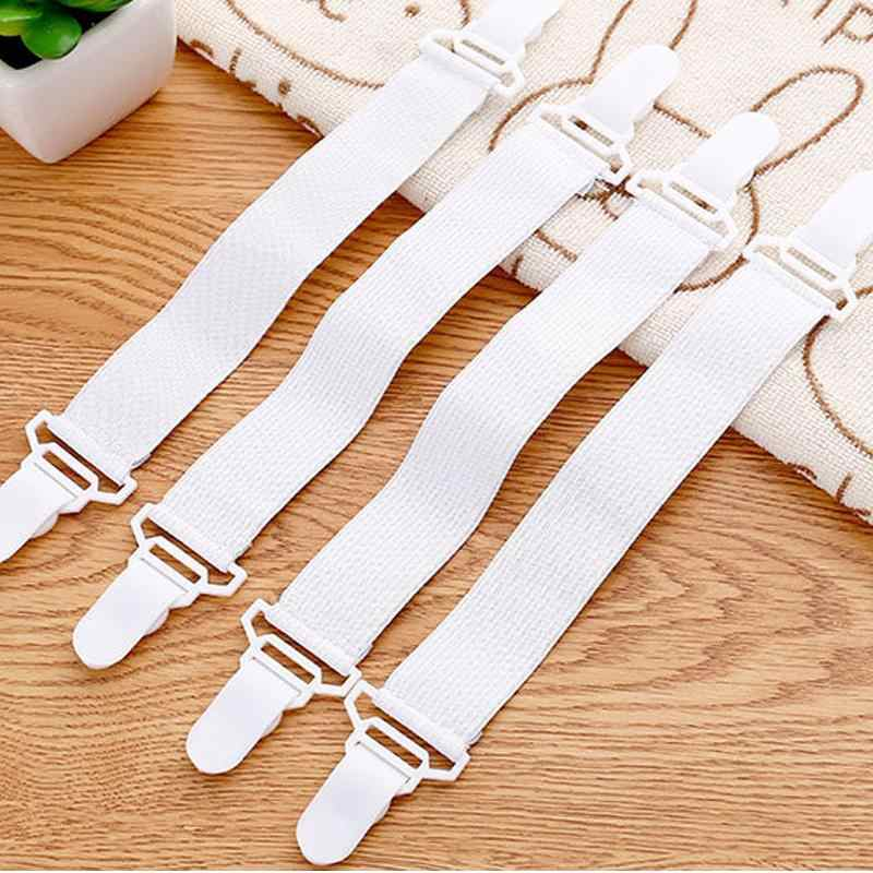 34  4PCS  Sheet Mattress Cover Blanket Clip Holder Fastener Elastic Set Clip Non-slip Elastic Band Fixer Tablecloth Fixing Tape