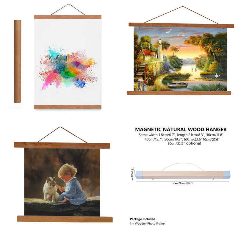 21/30/40/50/60cm Magnet Wood Wooden Poster Frame Painting Scroll Nordic DIY Photo Picture  Artwork Hanger