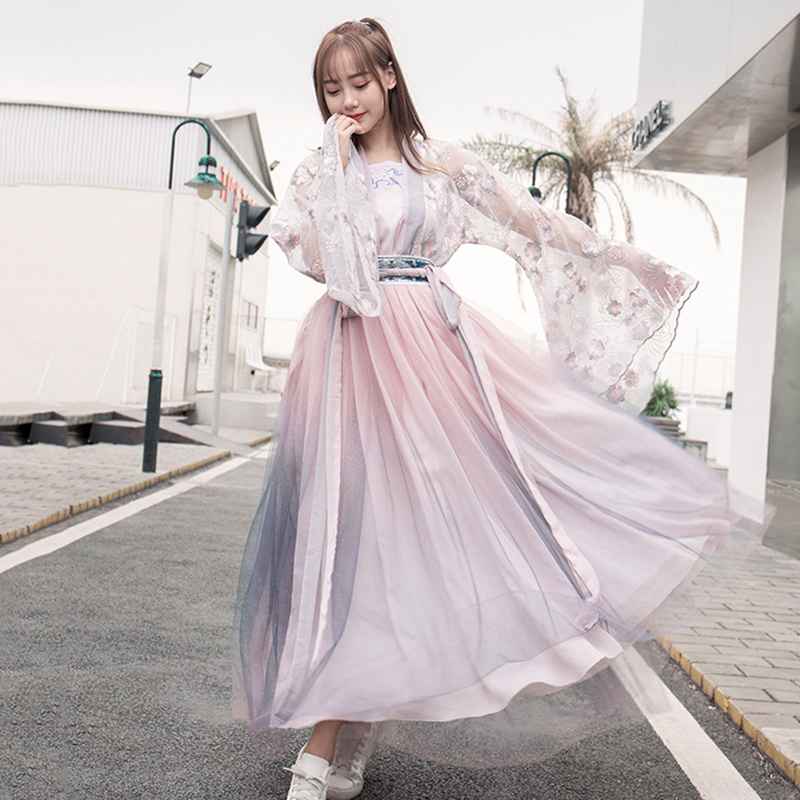 Chinese Traditional Pink Hanfu Women Cotton Han Element Skirt Elegant Costume Blue Dynastie Tang Mantle Cover Vintage Clothing