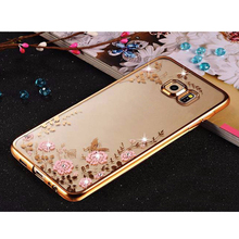 Sunjolly TPU Case Rose Gold Bling Rhinestone Cover for Samsung Galaxy S10E S9 S8 S10 Plus S7 S6 Edge S5 Note 10 Plus 9 8 5 4
