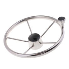 Boat Stainless Steel Steering Wheel 5 Spoke 13-1/2 For 3/4 Tapered Shaft 360mm aluminum alloy marine boat sport steering wheel 4 spoke 3 4 shaft for canoe kayak inflatable boat replacement accessories