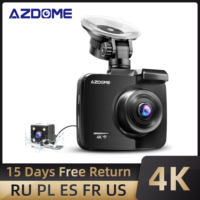 AZDOME GS63H 4K/2880*2160P WiFi Car DVRs Recorder Dash Cam Built in GPS WDR Night Vision Support Dual Cam Rear Back Camera