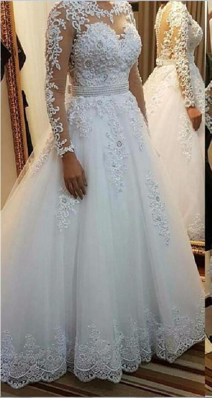 Elegant Long Sleeves A-Line Wedding Dresses 2020 Bridal Gowns Appliques Lace Custom Sheer Wedding Wear Custom