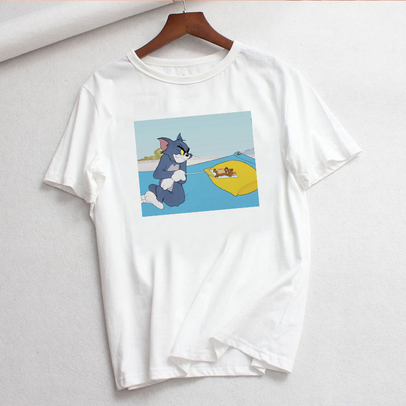 Jerry Mouse Cat Tom Print Cartoon Casual Summer Tops Fun Spoof Female Loose Letters Large Size Tees Cute Ulzzang Vintage T-Shirt