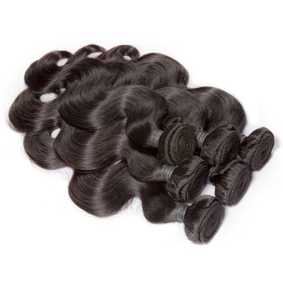 Brezilyalı Saç Örgü Demetleri 30 32 34 36 40 inç Vücut Dalga İnsan Saç Paketler 7A Bakire Saç Uzatma 1 /3/4 PCS HJ Weave Güzellik