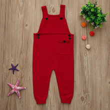 Hot Sale Toddler Costume Fashion Solid Boys Girls Knitted Overalls 2019 Casual Kids Baby Strap Rompers Buckle Jumpsuit Outfits(China)