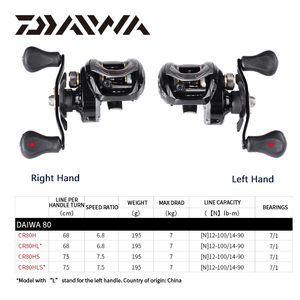 Image 2 - DAIWA CR80 Fishing reels 6.8Gear Ratio Max Drag 7kg Baitcasting Fishing Reel pesca Max Drag 7kg Low Profile Fishing reels