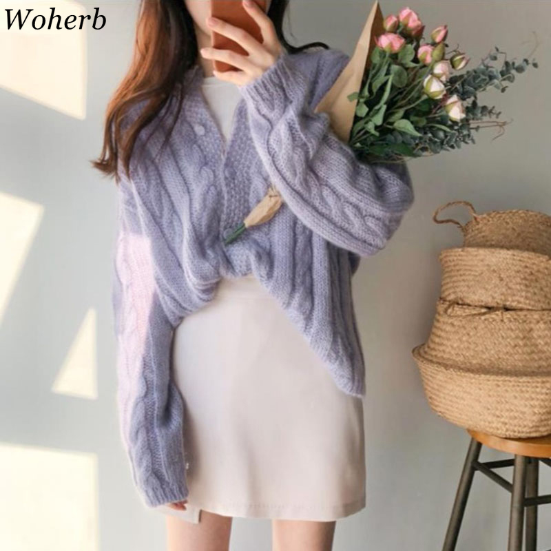 Woherb Korean 2020 Women Cardigans Sweater Candy Color Solid Loose Knitwear Twist Sweater Coat Casual Knit Cardigan Outwear Pull