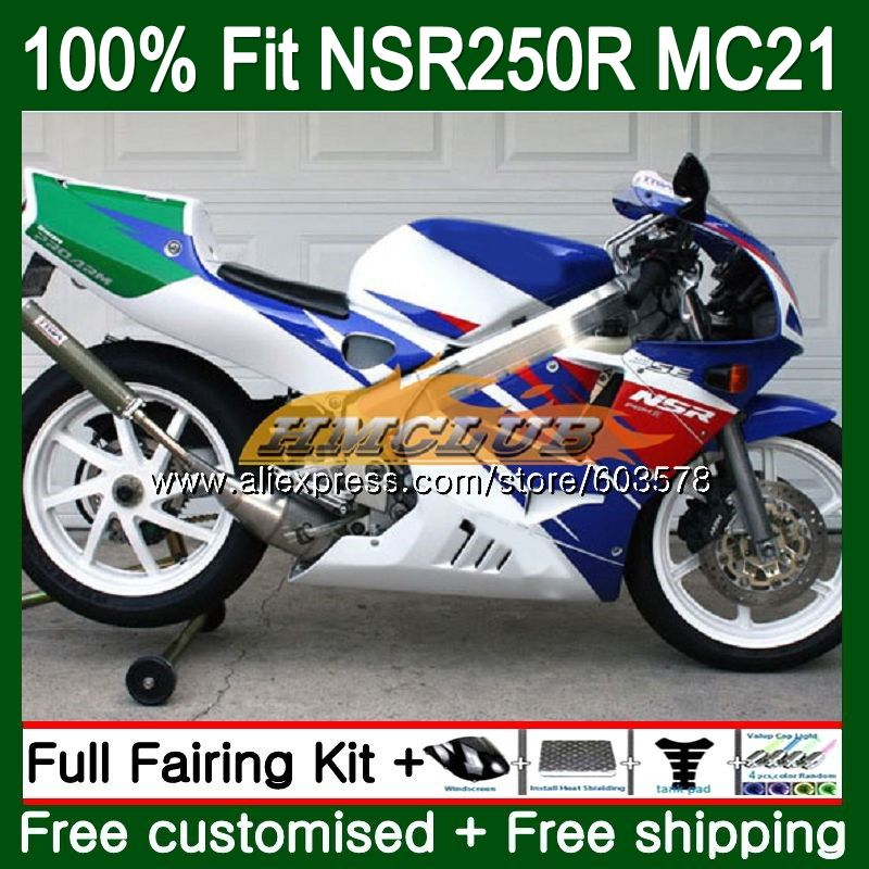 Injection For HONDA NSR250R MC21 PGM3 1990 1991 1992 1993 101CL.83 <font><b>NSR</b></font> <font><b>250</b></font> R NSR250 RR <font><b>NSR</b></font> 250R 90 91 92 93 White Blue Fairing image