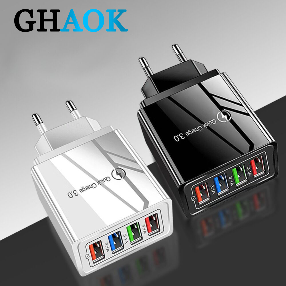 48W Quick Charger 3.0 USB Charger For iphone Samsung Tablet EU US Plug Wall Mobile Phone Charger Adapter Fast Charging