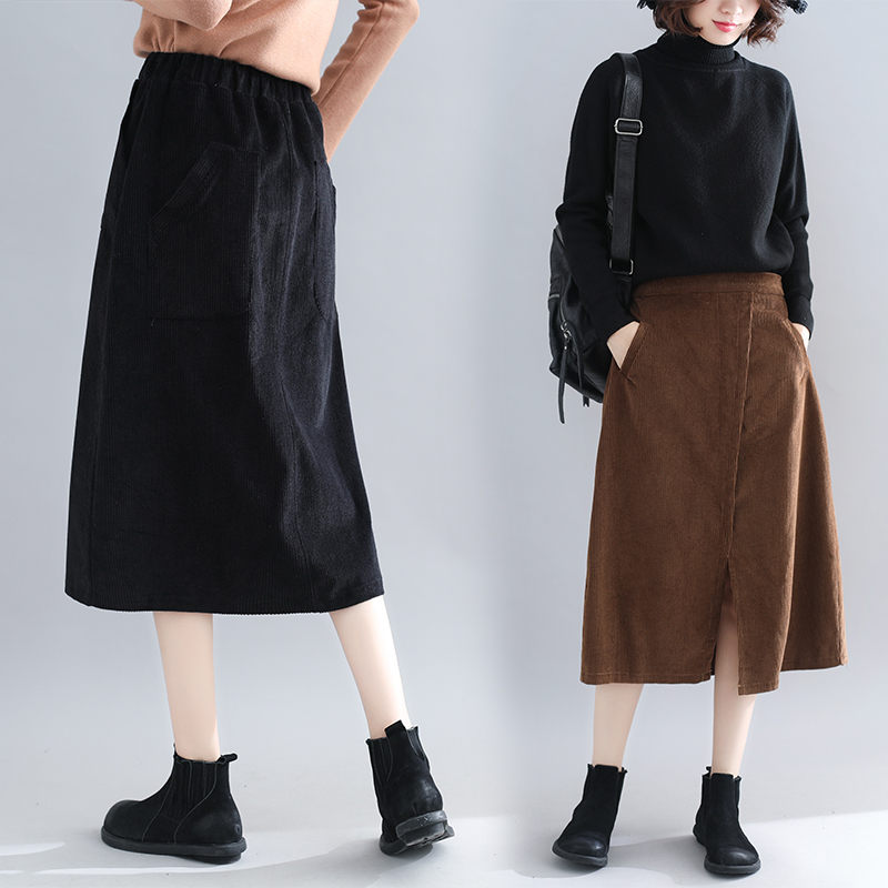 Large Size Female Clothing Autumn And Winter Skirts Womens New Split Wild Corduroy Skirt Elastic High Waist A-Line Skirt F1954